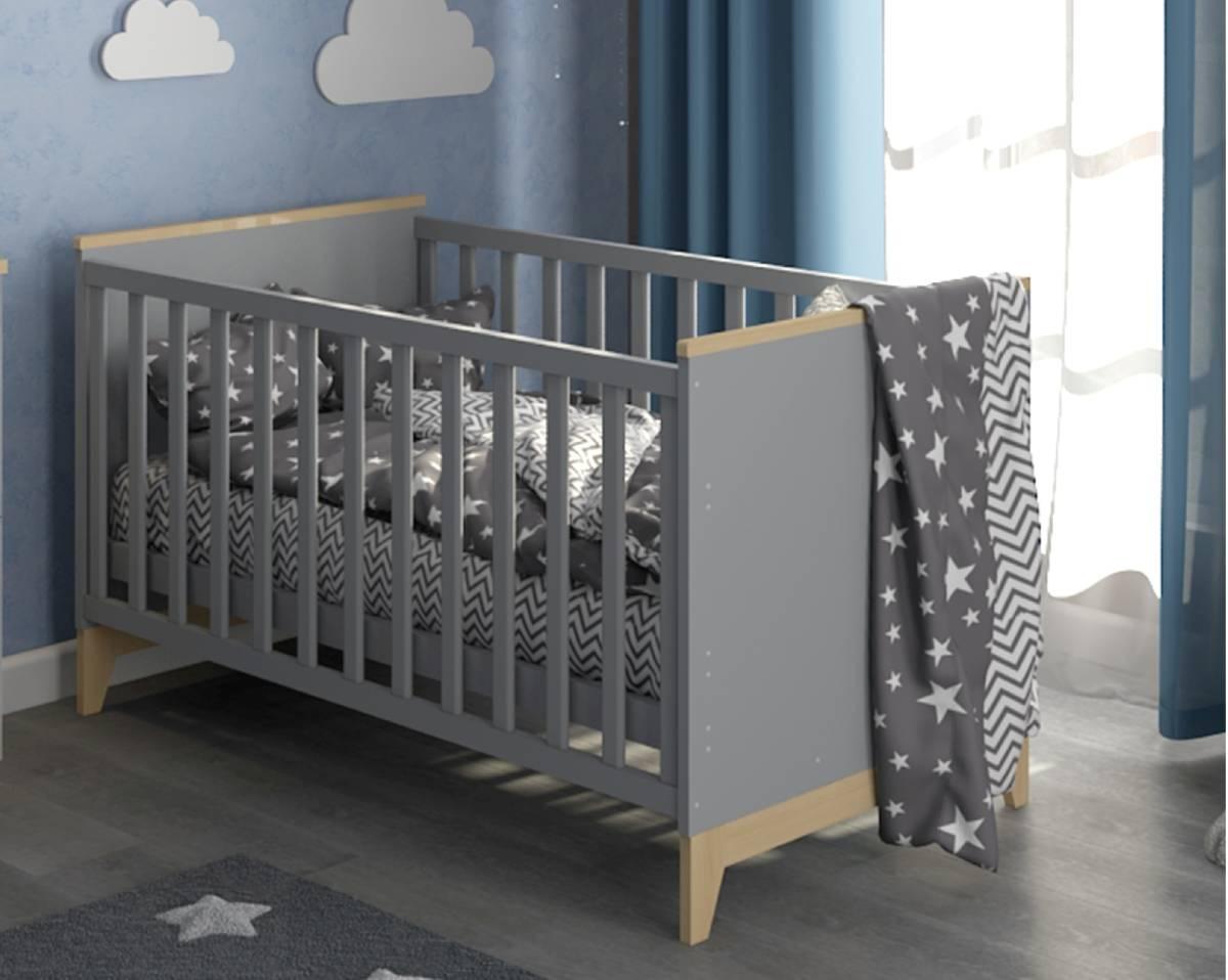 детская кроватка трансформер серая