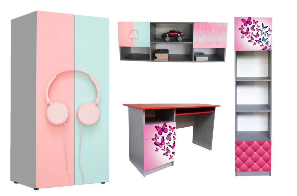 детская мебель в 1 стиле розовые