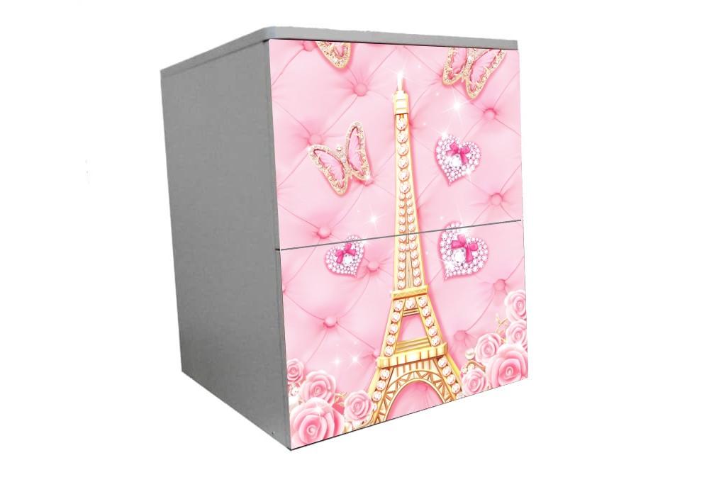 детская тумбочка на 2 ящика розовая эйфелева башня