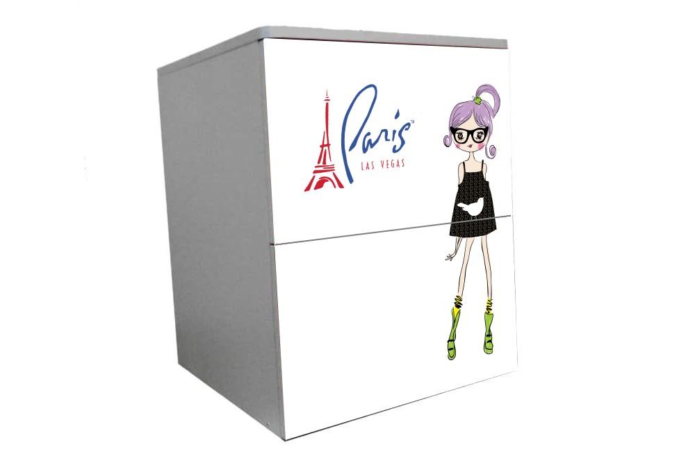 детская тумбочка на 2 ящика париж девочка