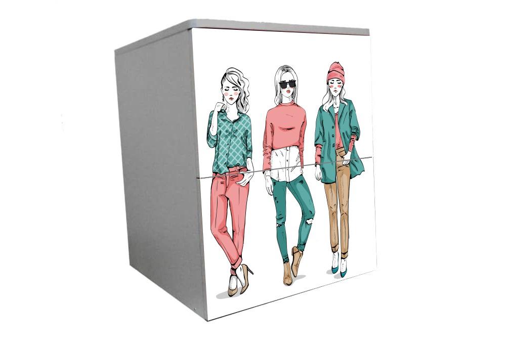 детская тумбочка на 2 ящика модный гламур