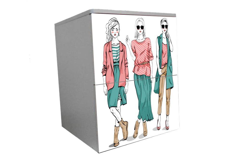 подростковая тумбочка на 2 ящика модный гламур