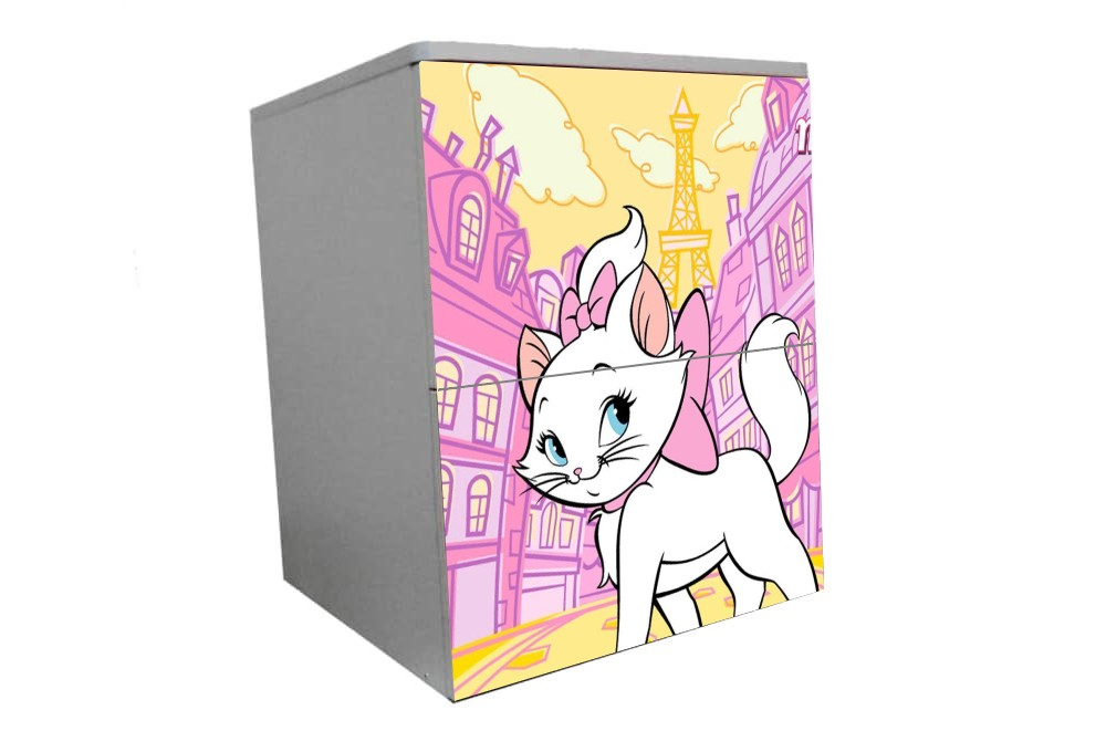 детская тумбочка на 2 ящика кошка мэри розовая