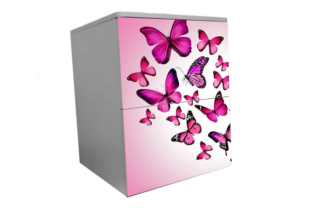 детская прикроватная тумба бабочки розовые