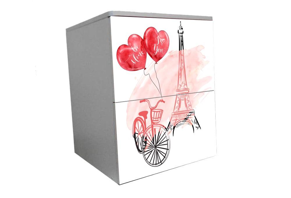 детская тумбочка на 2 ящика нежный париж розовый