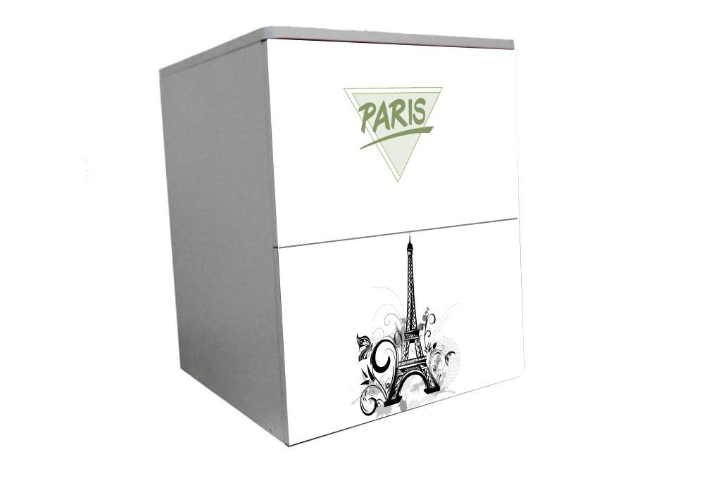 детская тумбочка на 2 ящика париж эйфелева башня
