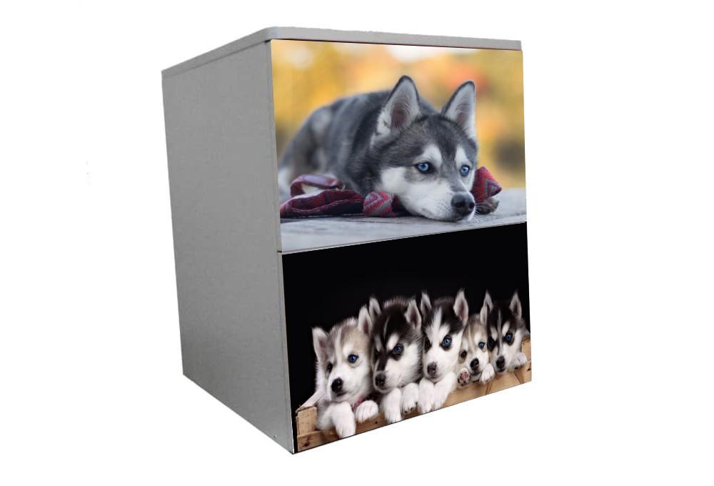 детская тумбочка прикроватная собачки хаски