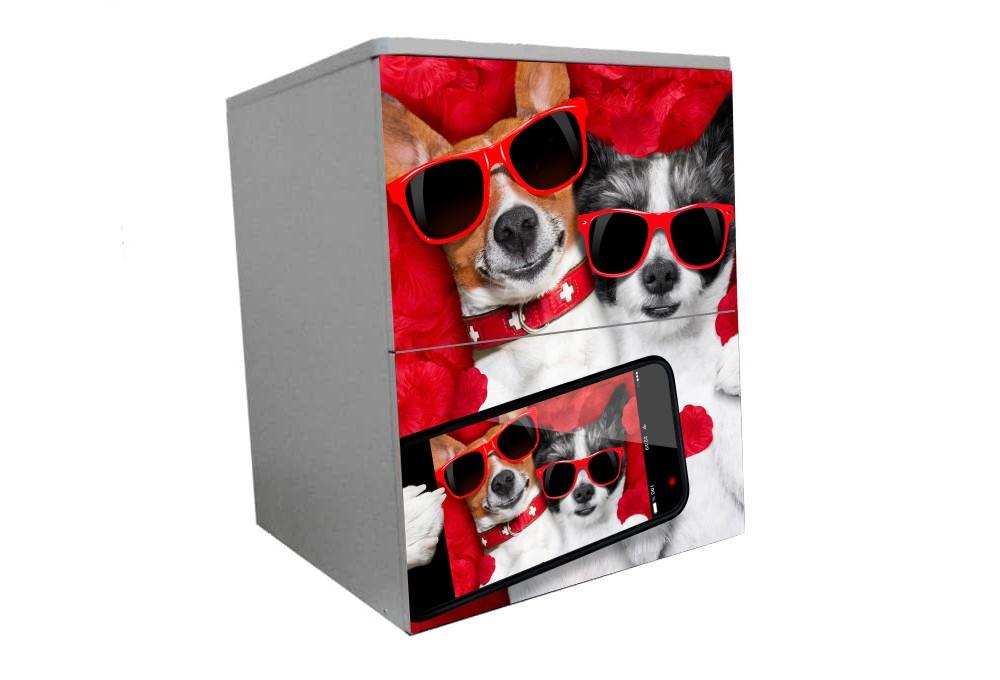 детская тумбочка прикроватная собачки красный