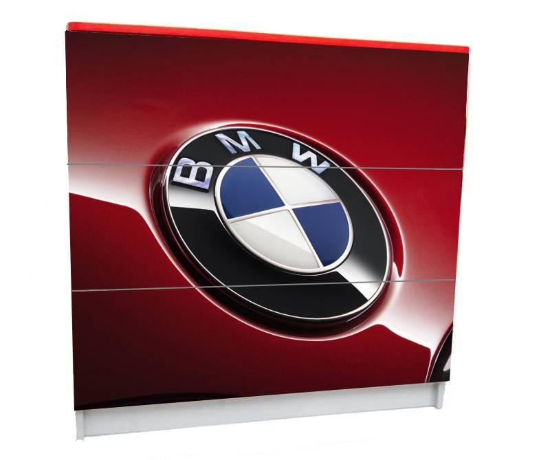 комод на 3 ящика красный логотип бмв