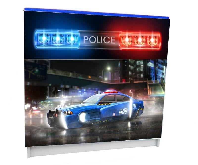 детский комод 3 ящика полиция синяя