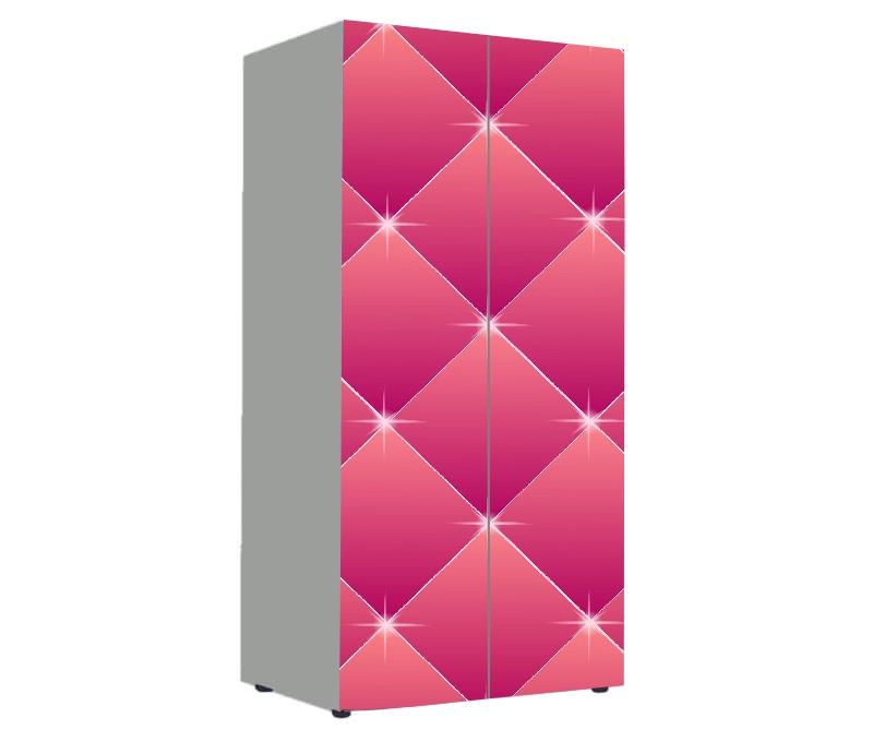 детский шкаф розовый для девочки с блестками