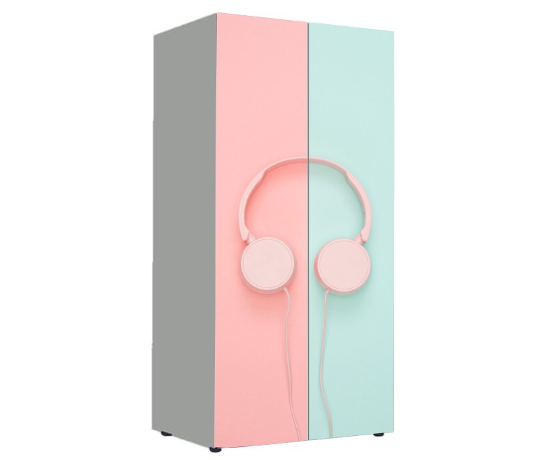 детский шкаф розовый с голубым наушники