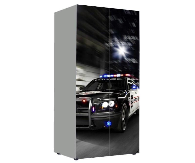 детский шкаф черная с белым полиция