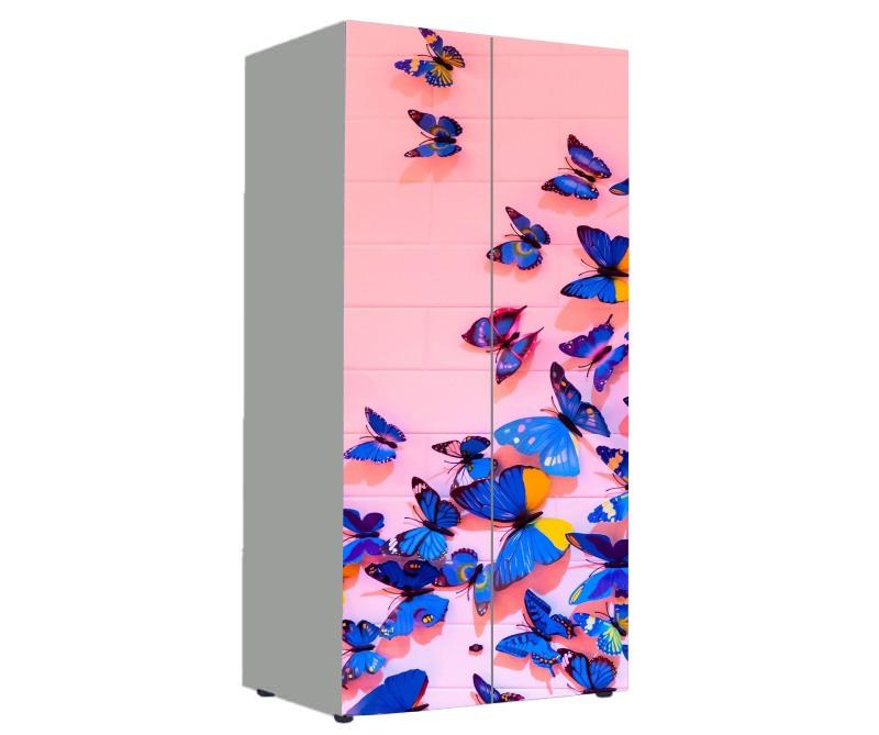 детский шкаф розовый с бабочками