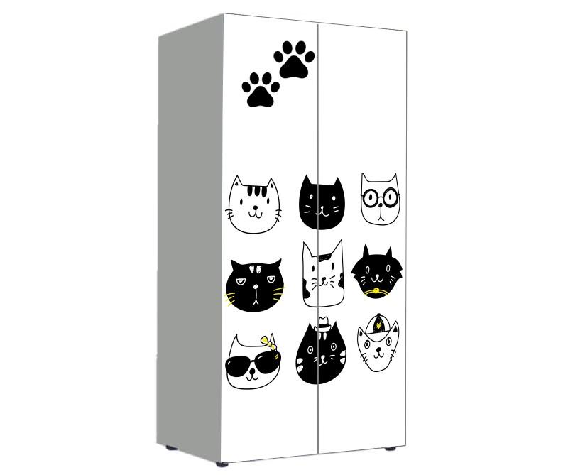 шкаф в детскую с котиками мультяшными