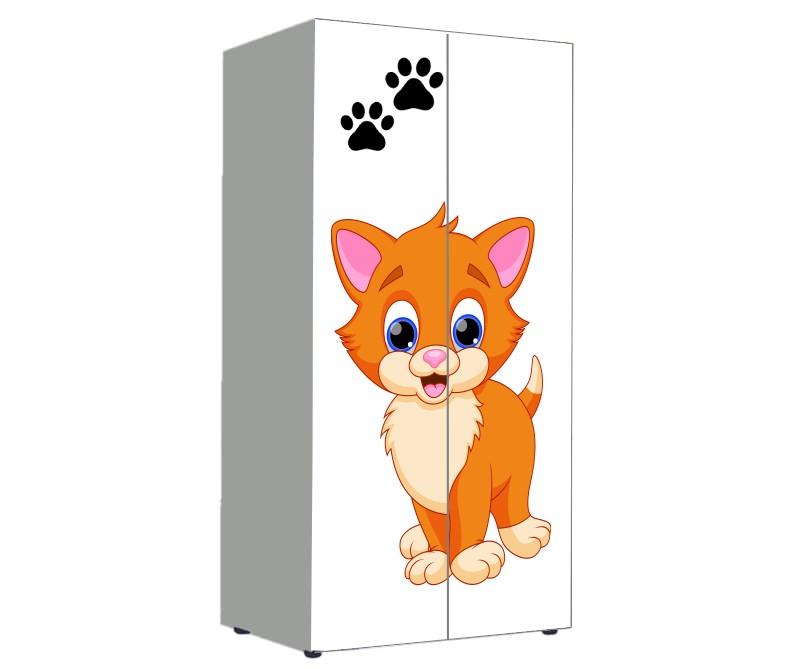 шкаф в детскую с котенком мультяшным