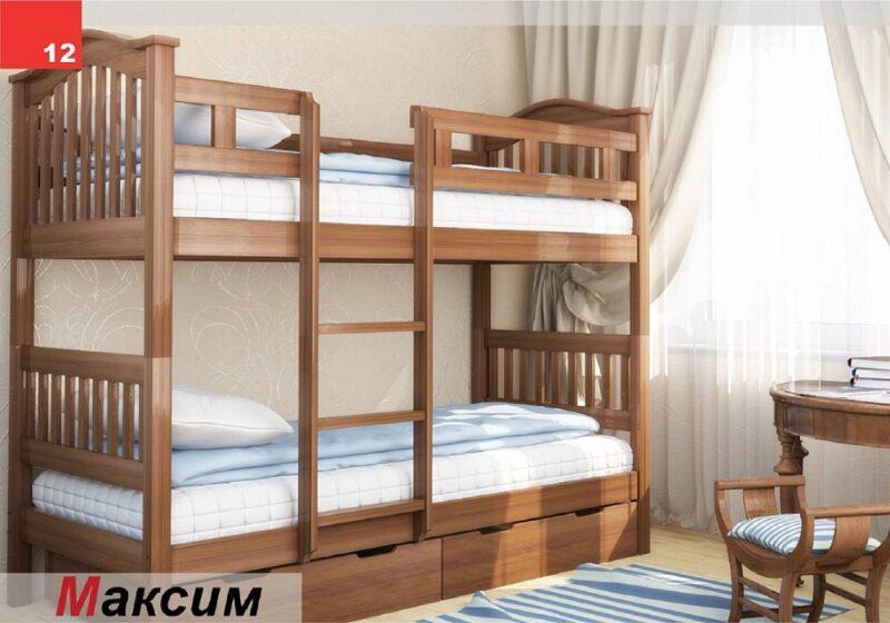 двухъярусная детская кровать максим с ящиками и бортиками