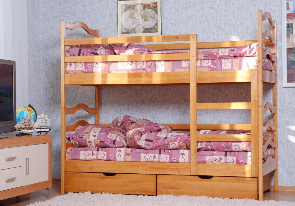 двухъярусная кровать софия из ольхи с ящиками