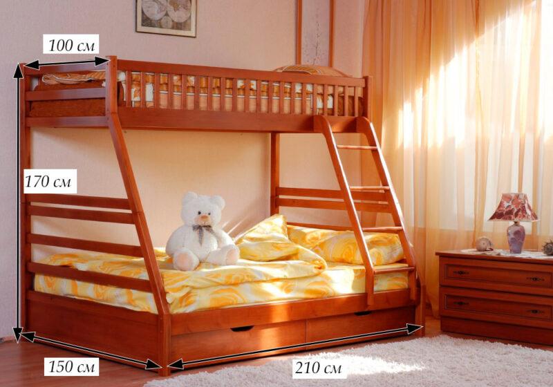 схема размеров двухъярусной кровати юлия