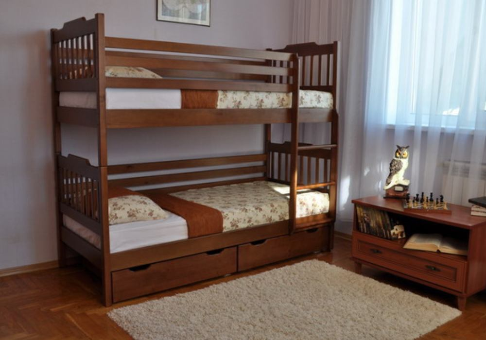 двухъярусная детская кровать ева с ящиками и бортиками