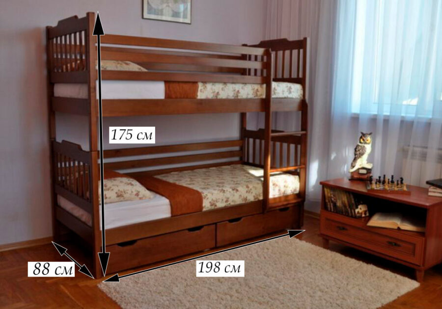 схема размеров двухъярусной кровати ева