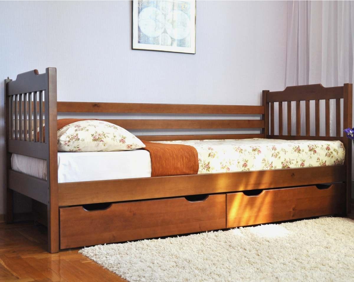 детская кровать ева с ящиками из ольхи
