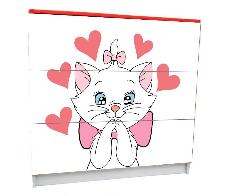 детский комод на 3 ящика кошка мэри белый