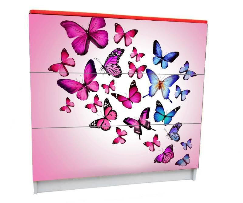 детский комод на 3 ящика бабочки розовый