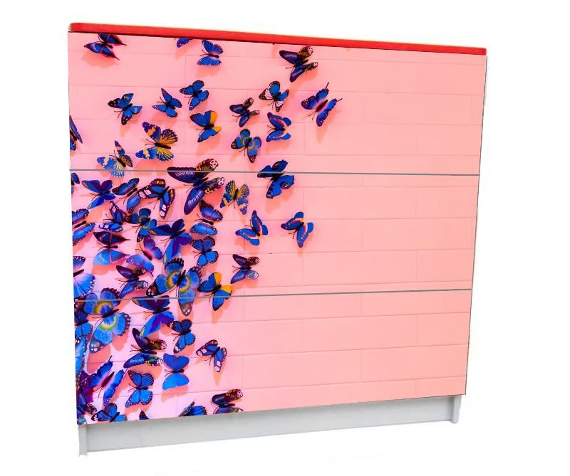 детский комод на 3 ящика бабочки