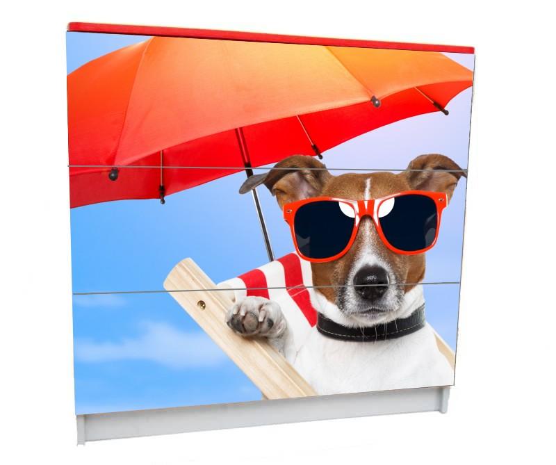 детский комод на 3 ящика собачка с зонтом