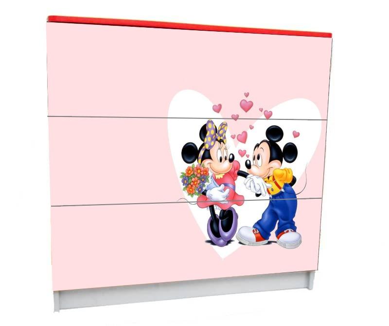 детский комод на 3 ящика минни розовый