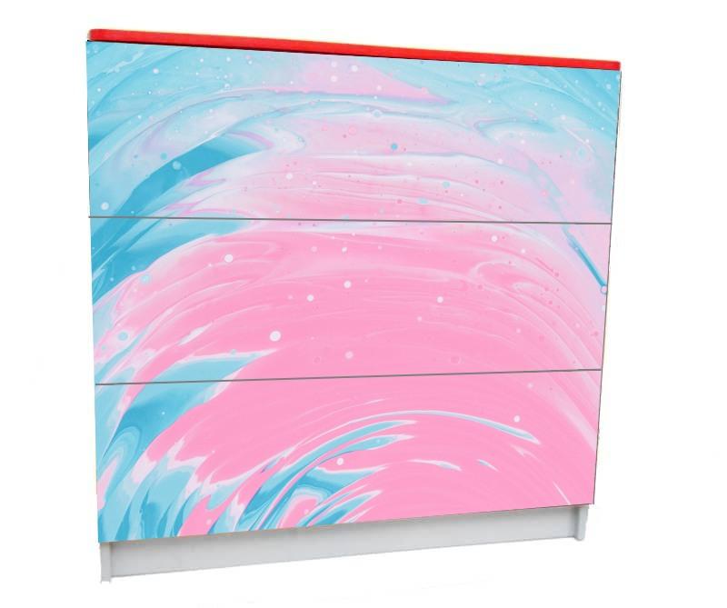 детский комод на 3 ящика розовый с голубым