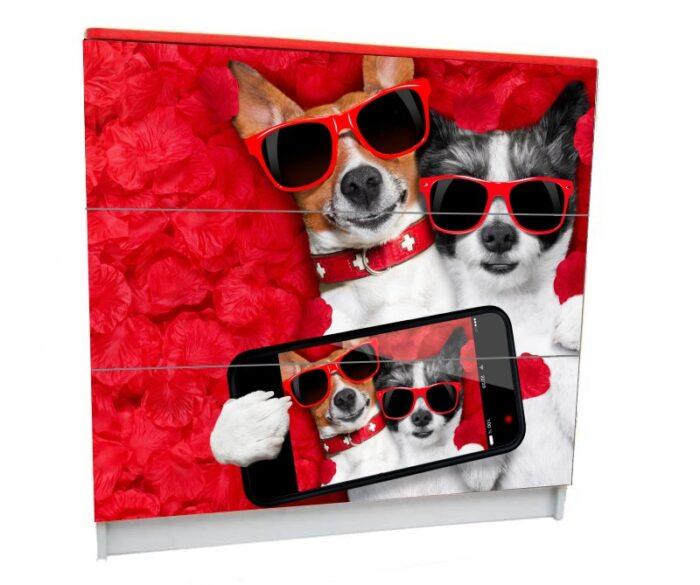 детский комод на 3 ящика собачки