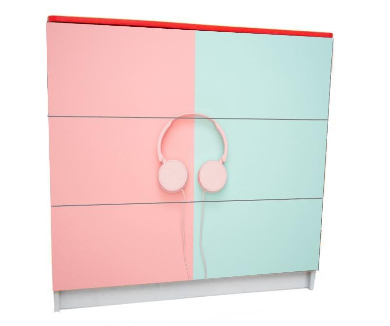 детский комод на 3 ящика розовый голубой