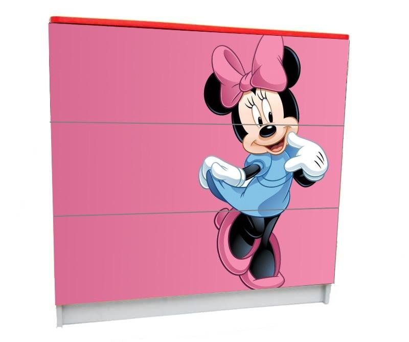 детский комод на 3 ящика минни розовый фон