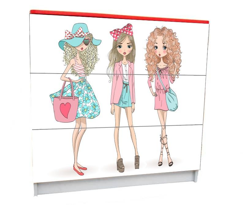 подростковый комод на 3 ящика модные подружки