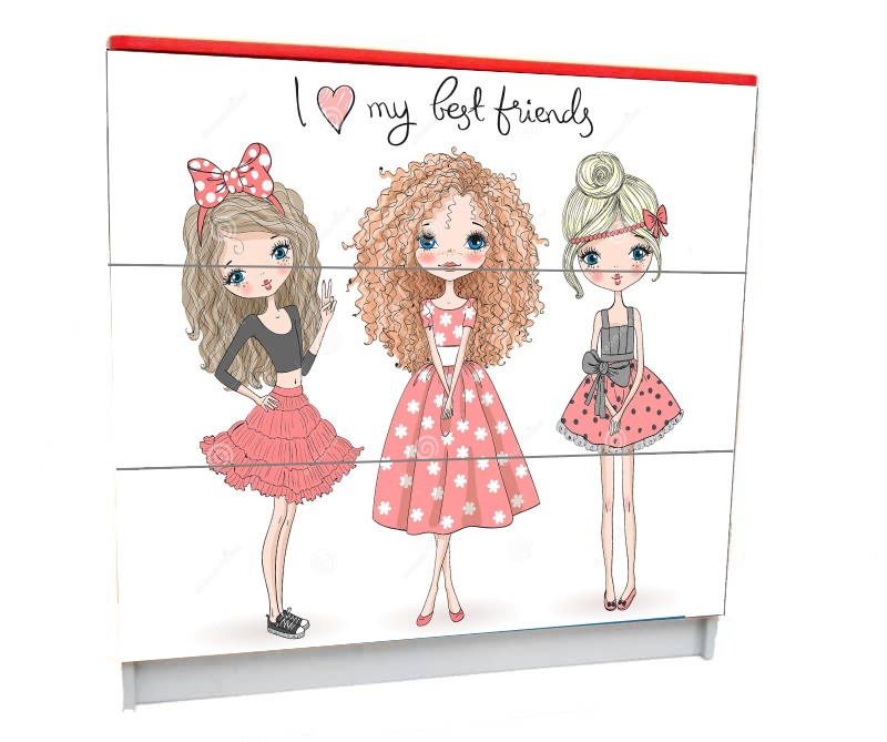 подростковый комод на 3 ящика лучшие подружки