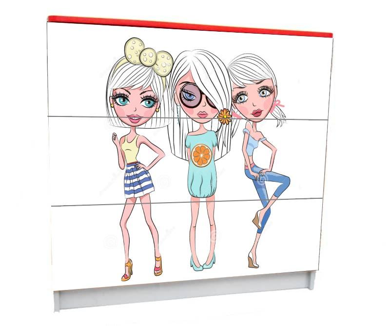 подростковый комод на 3 ящика модный гламур