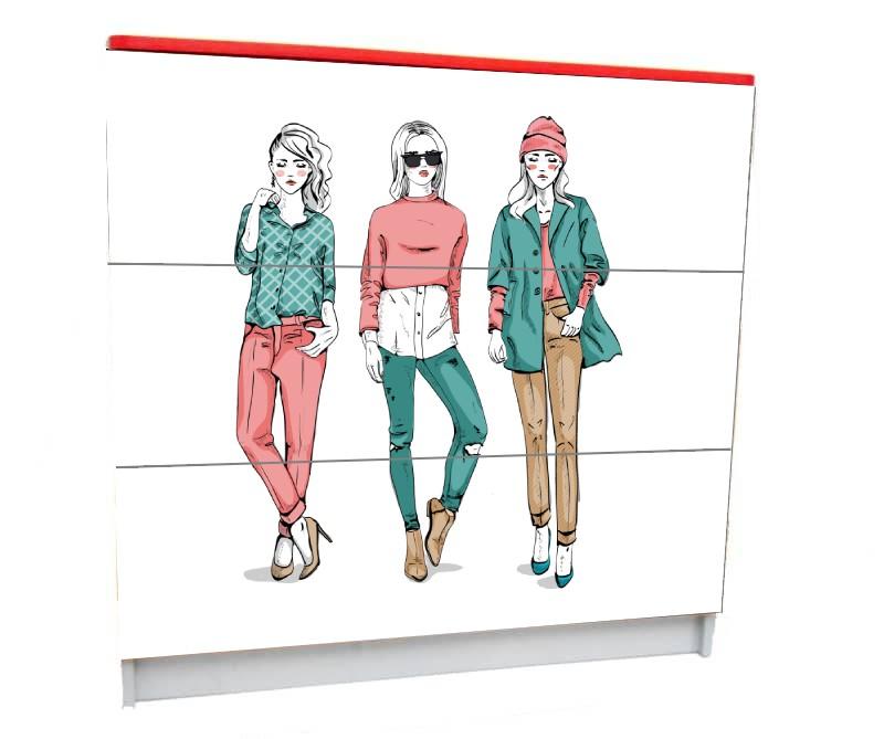 подростковый комод на 3 ящика мода париж девочки