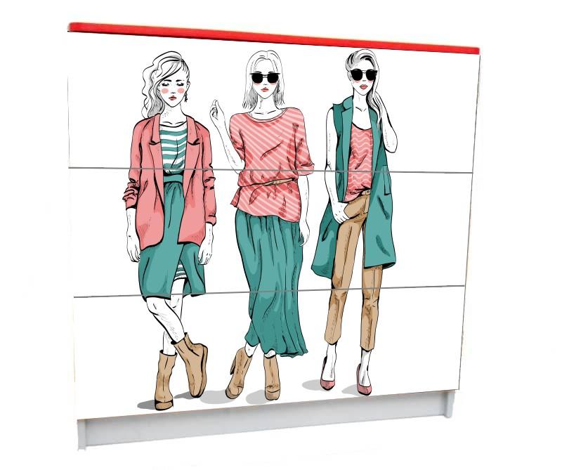 детский комод на 3 ящика мода париж девушки