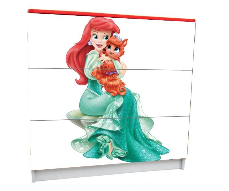 детский комод на 3 ящика принцесса русалочка белый фон