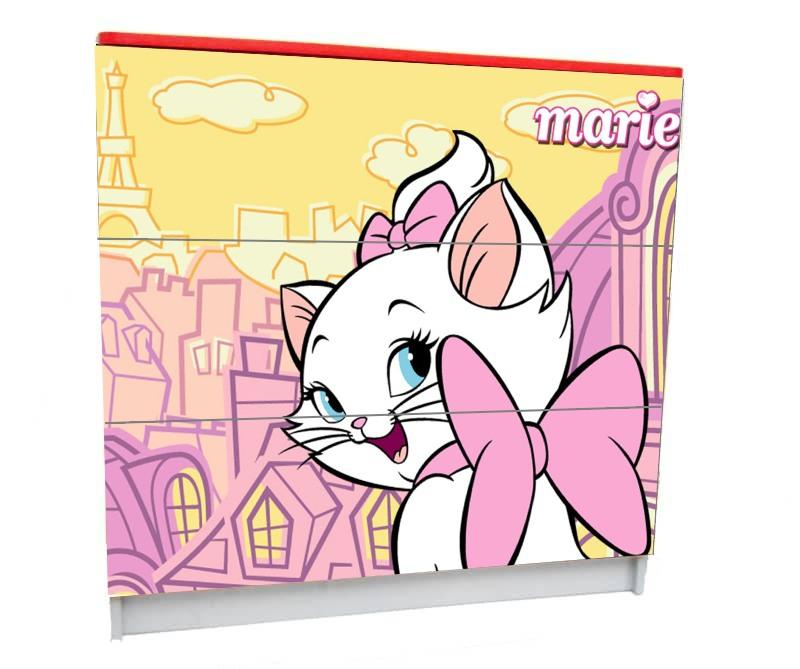 детский комод на 3 ящика кошечка мэри розовый