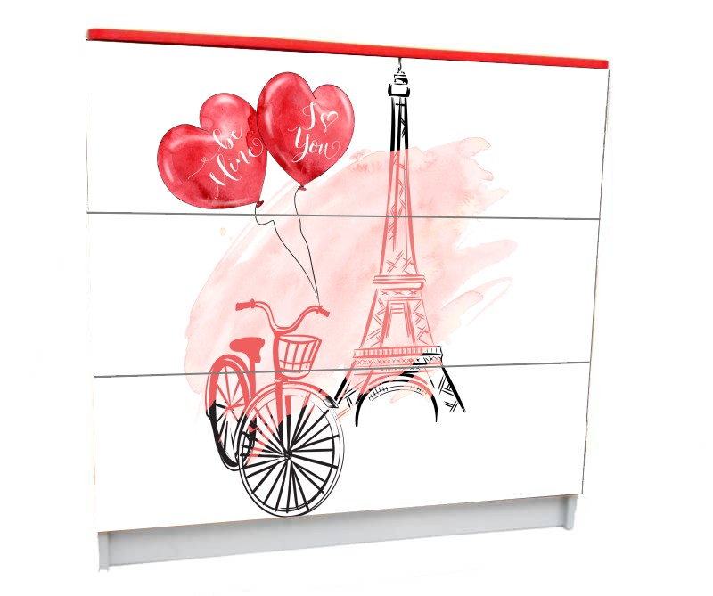детский комод на 3 ящика для девочки париж башня