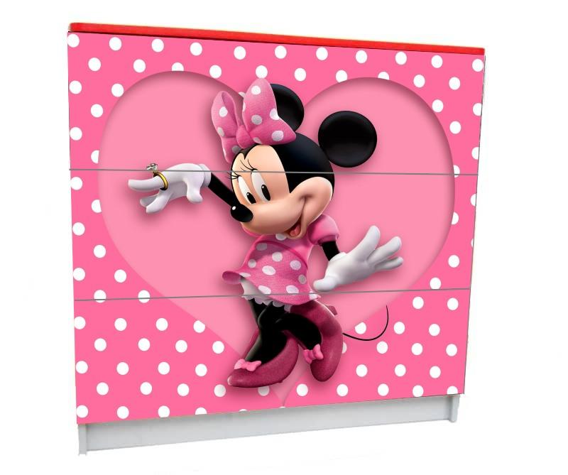 детский комод на 3 ящика минни маус розовое сердце