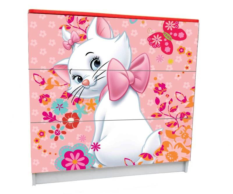 детский комод на 3 ящика кошка мэри розовый