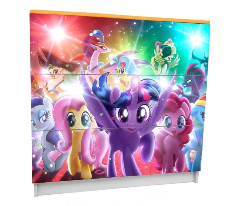 детский комод на 3 ящика пони фиолетовый