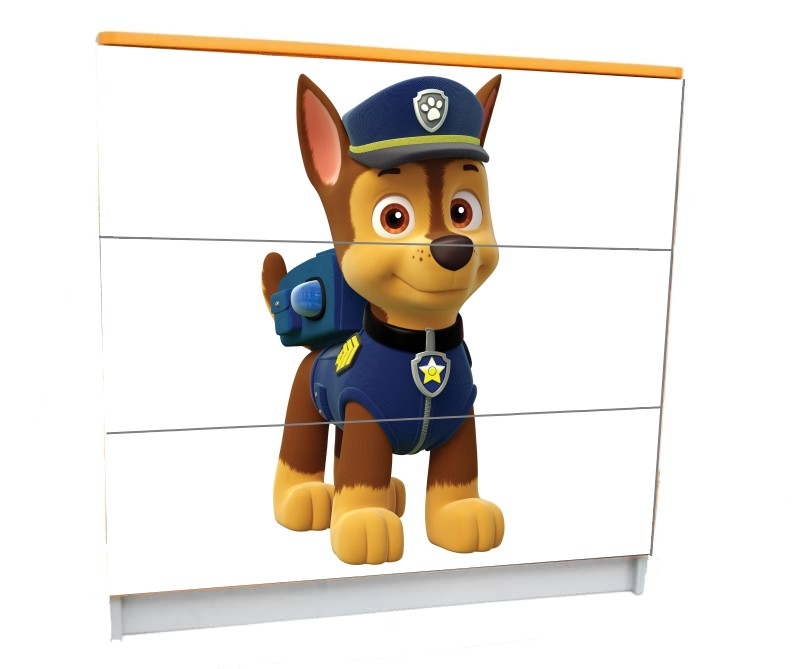 детский комод на 3 ящика щенячий патруль гонщик