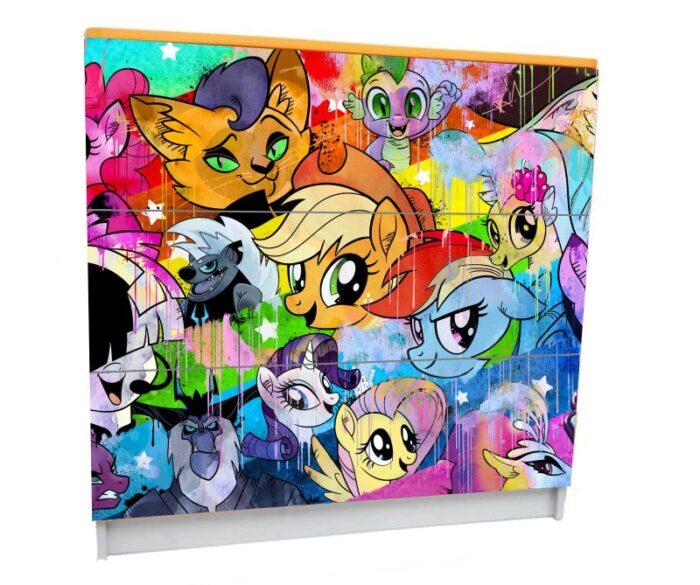 детский комод на 3 ящика пони яркие
