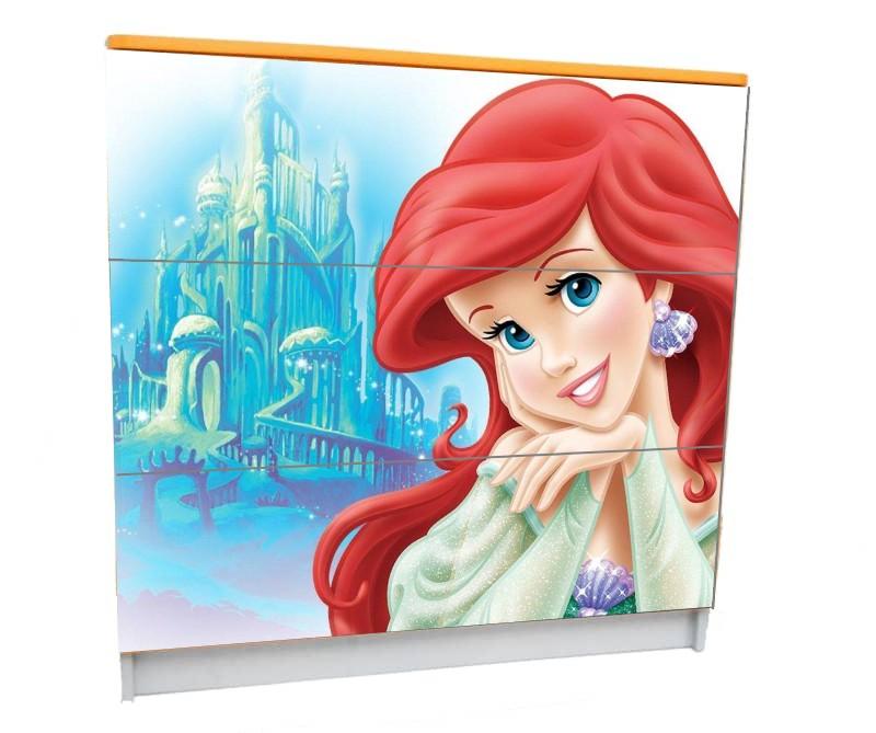 детский комод на 3 ящика принцесса русалочка