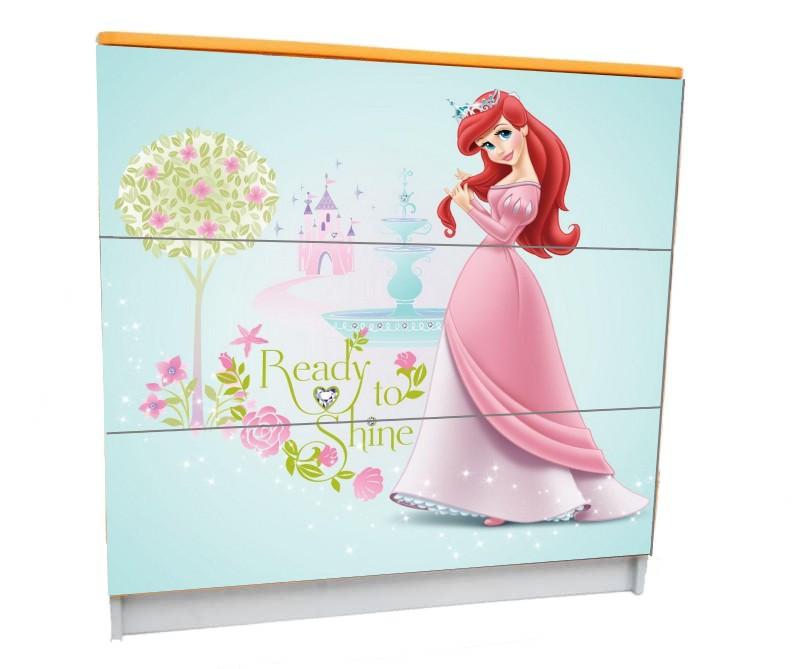детский комод на 3 ящика русалочка принцесса